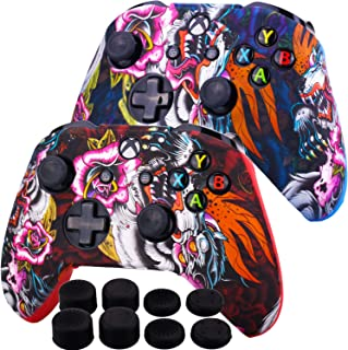 MXRC Silicone Rubber Cover Skin Case Anti-Slip Water Transfer Customize Camouflage for Xbox One/S/X Controller x 2(Dragon Red + Blue) + FPS PRO Extra Height Thumb Grips x 8