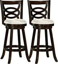 CorLiving DWG-819-B Woodgrove Wood 360 Swivel Barstool with Leatherette Seat, 29-Inch Seat Height, Cappuccino, Set of 2
