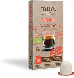 MUST 100 Capsules de Café BIO Armonia 10 Pack de 10 Capsules Compatibles avec la Machine Nespresso 100% Capsules Compostab...