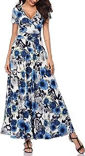 d7778bd84f11 HUHOT Women Short Sleeves V Neck A Line Unique Cross Wrap Summer Maxi  Dresses with Pockets