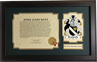 Braddock - Coat of Arms and Last Name History, 14x22 Inches Matted and Framed
