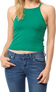 Re.Born Womens Basic Ribbed High Neck Racerback Summer Sexy Camisole Crop Tank Top S-3XL