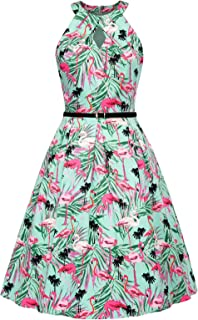 Belle Poque Belted Halter Keyhole Vintage Sleeveless Cotton A-Line Dress BP460