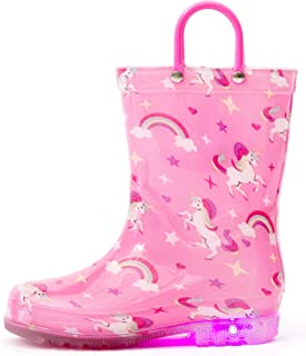 Outee Toddler Kids Adorable Printed Light Up Rain Boots...