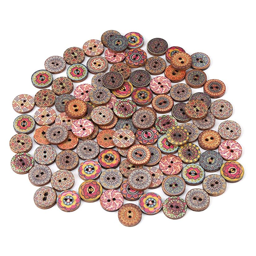 100 Pcs Round Wooden Buttons, Wood Antique Buttons, Vintage Unfinished Wooden Buttons, Mixed Color 2 Holes Small Wooden Buttons for Sewing Fasteners Scrapbooking and DIY Craft