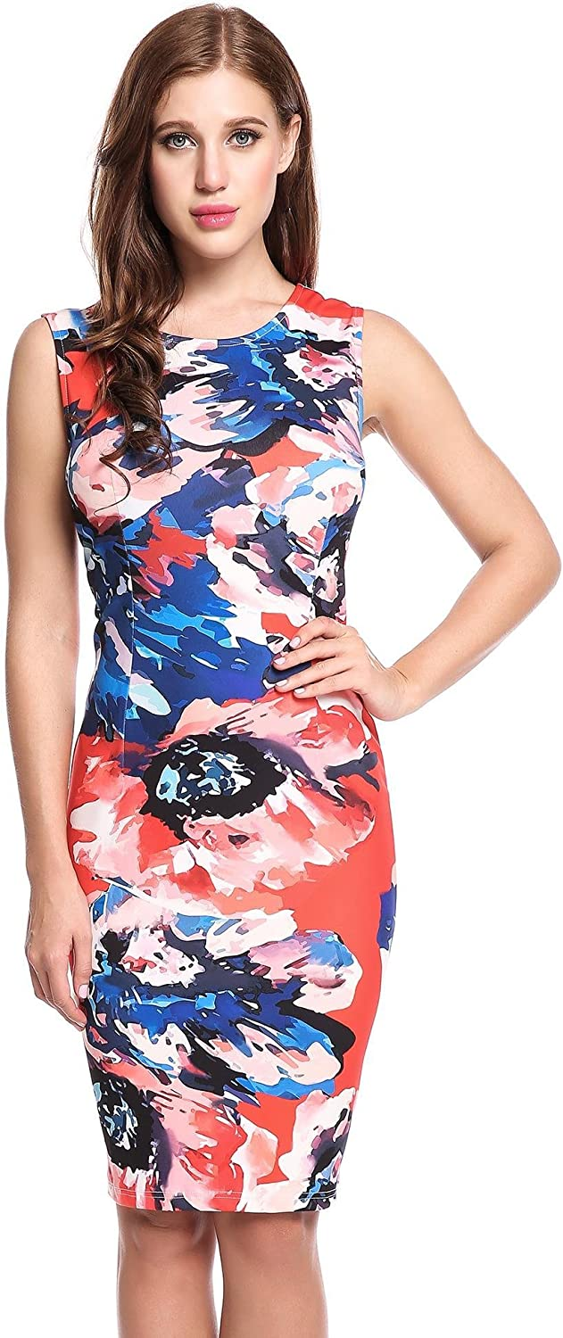 Angvns Womens Floral Printed Elastic Sleeveless Bodycon Pencil Dresses