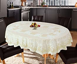 Katwa Clasic - 54 x 78 (Oval) Rose Lace Vinyl Tablecloth (Lemon)