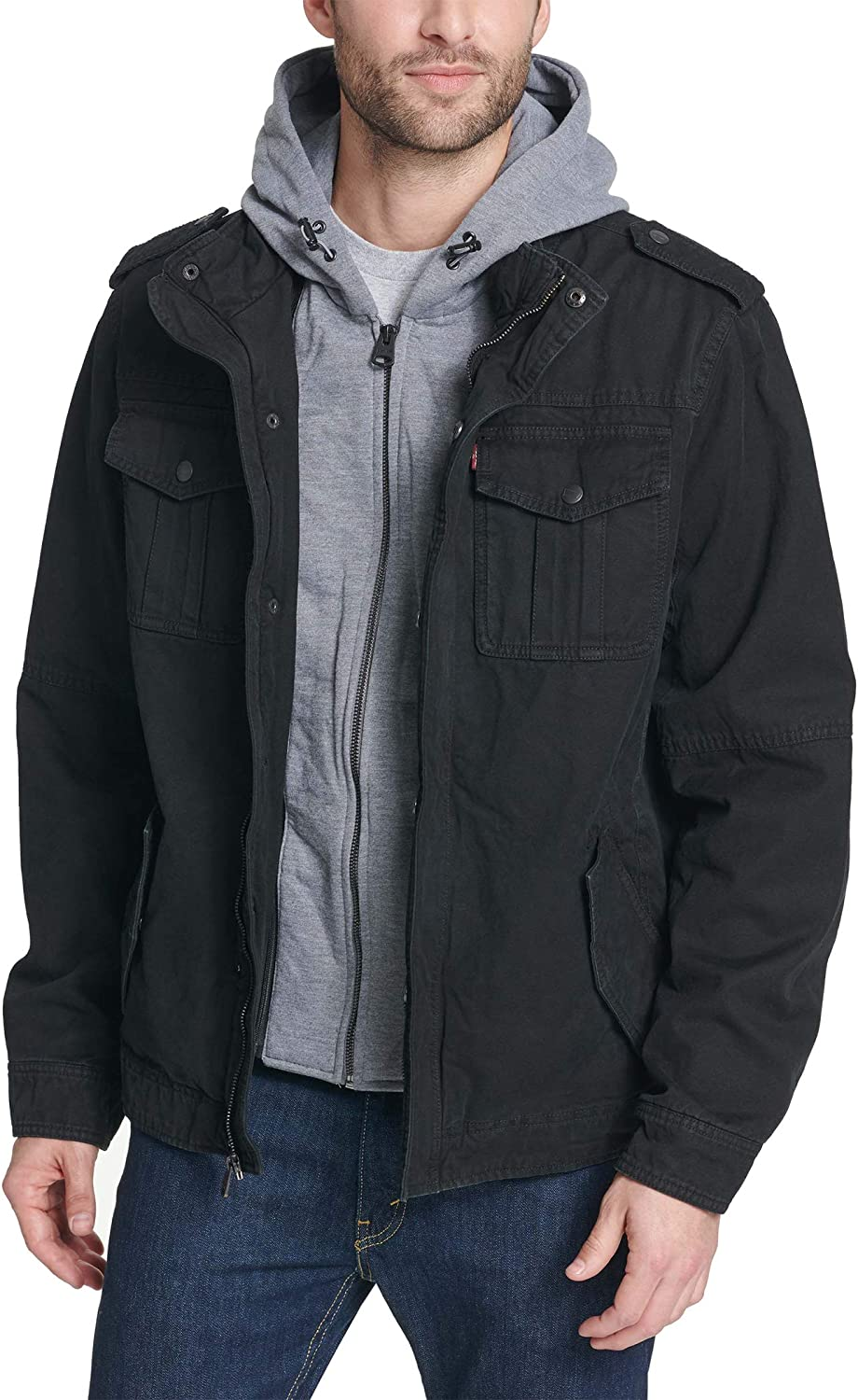Levi's Men's Washed Cotton 40% OFF Cheap Sale Military Jacket Hooded San Francisco Mall