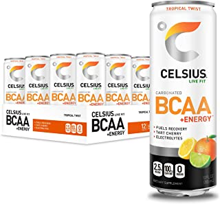 CELSIUS BCAA +Energy Sparkling Post-Workout Recovery & Hydration Drink, Tropical Twist, 12oz. Slim Can (Pack of 12)