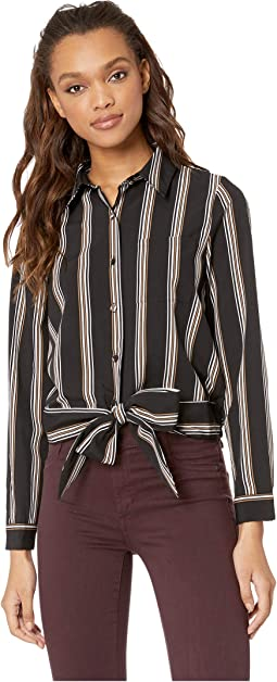 Stripe Shirt with Twist at Center Front