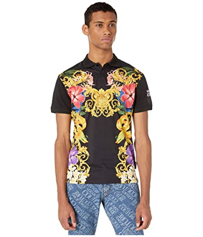 Versace Jeans Couture Jungle Baroque Print Polo (Black) Men