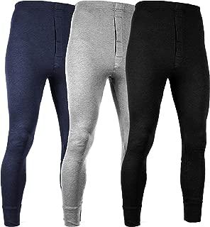 Men's 3 Pack Premium Cotton Base Layer Long Thermal Underwear Pants