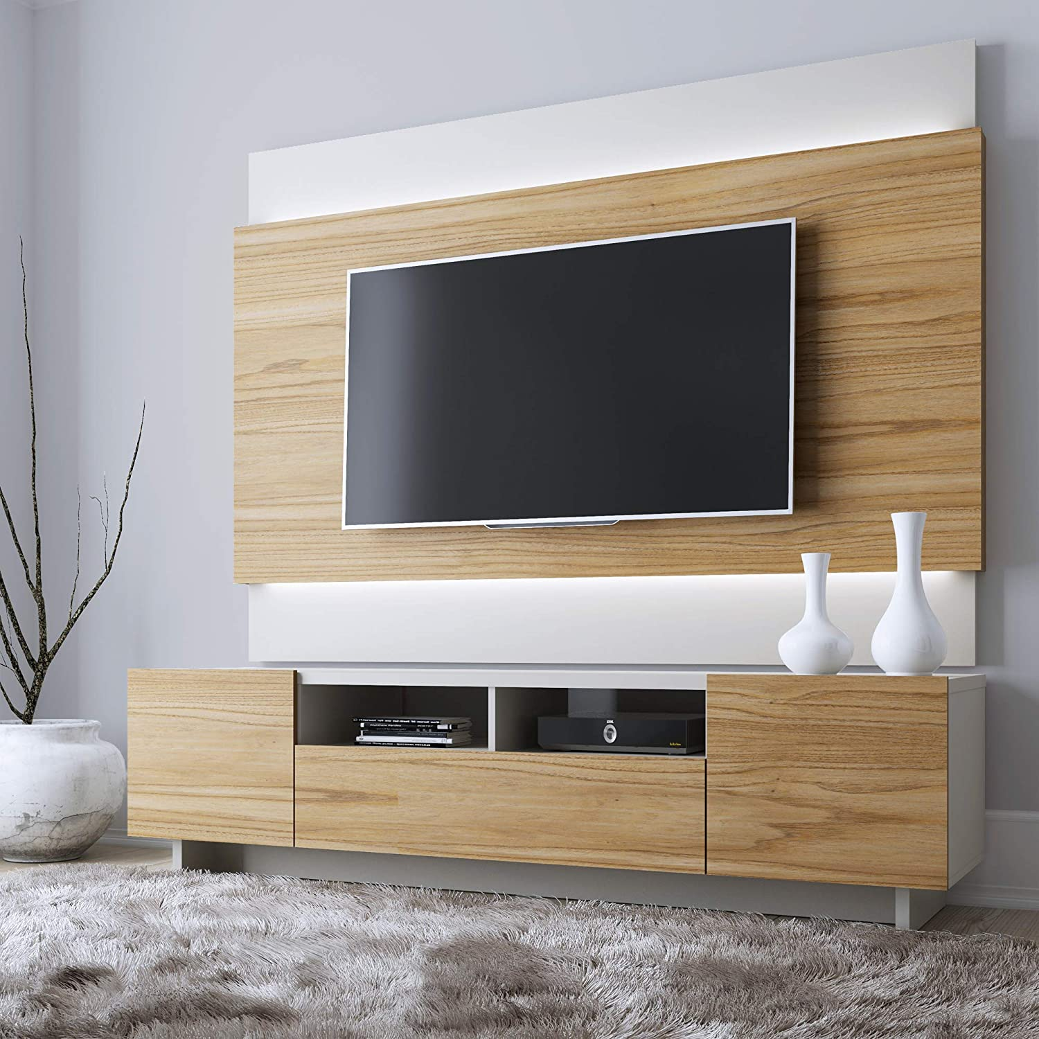 Manhattan Comfort Brill Modern Living Room Television Stand and TV Panel  Set with LED Lights, Cinnamon and Off White