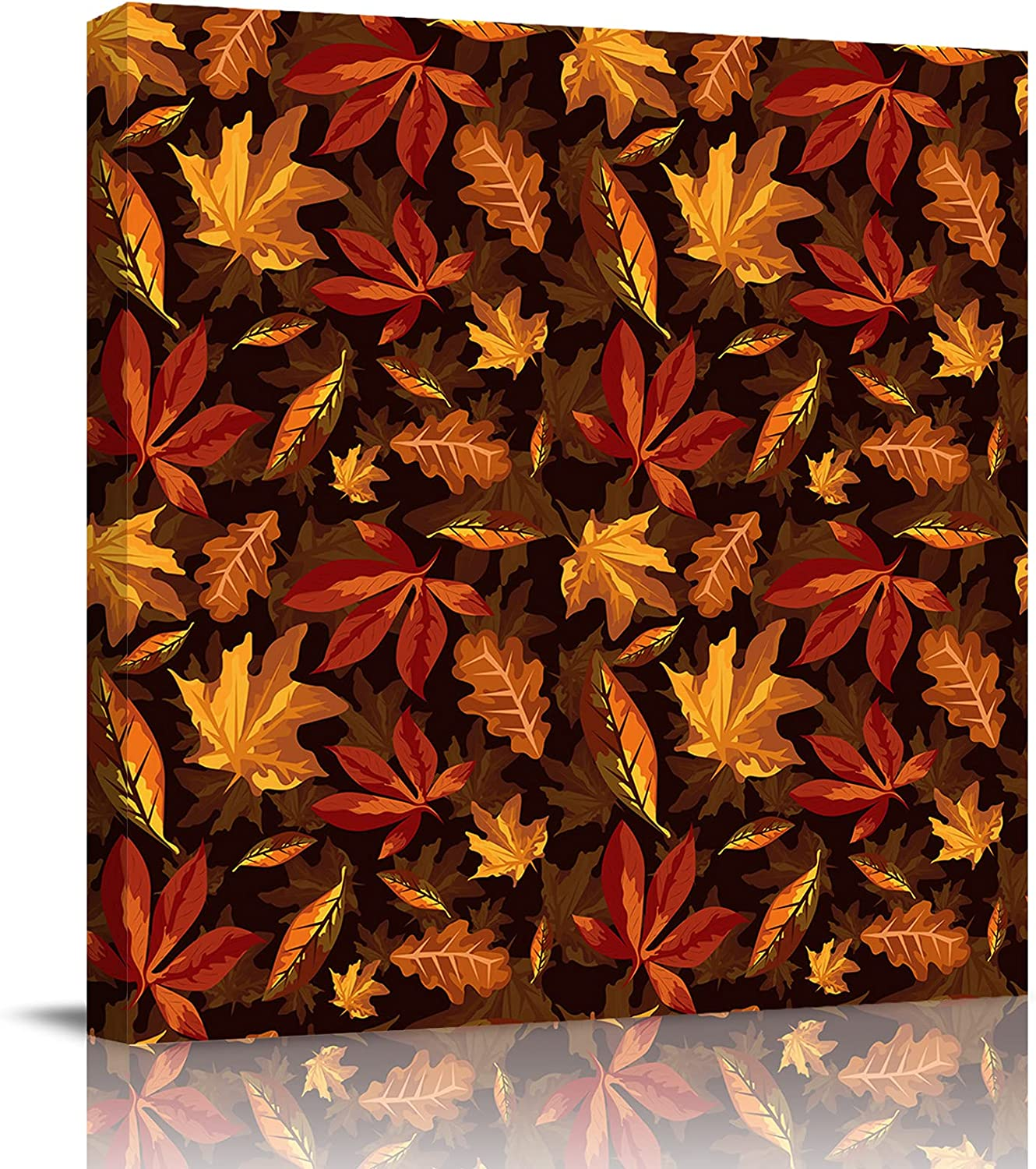 IDOWMAT Thanksgiving Retro Style Maple Texture Canvas Cash special price Leaf OFFicial store Print