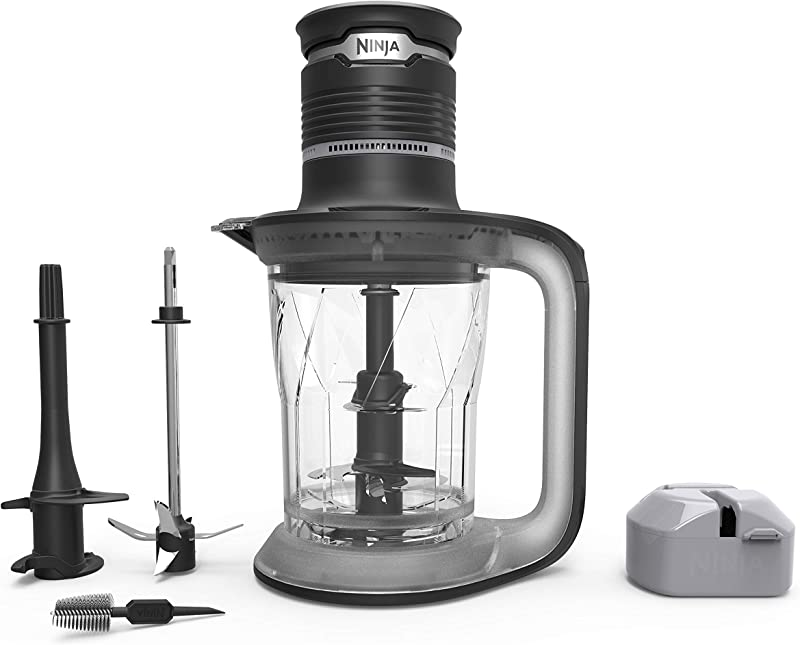Ninja Ultra Prep Food Processor And Blender With Lightweight 700 Watt Power Pod For Dough Smoothies Chopping Blending PS101 Black Clear