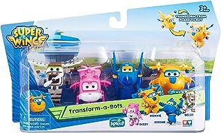 Super Wings- Series 1 Donnie Confezione Transform-A-Bots da 4 – Aerei 5 cm – Robot trasformabili del Cartone Animato 1ª St...