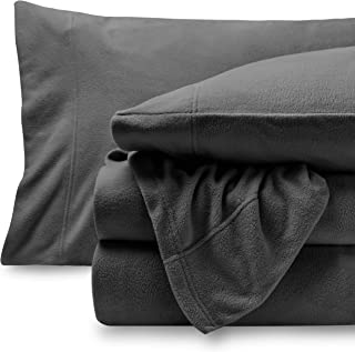 Bare Home Super Soft Fleece Sheet Set - Twin Extra Long Size - Extra Plush Polar Fleece, Pill-Resistant Bed Sheets - All Season Cozy Warmth, Breathable & Hypoallergenic (Twin XL, Grey)