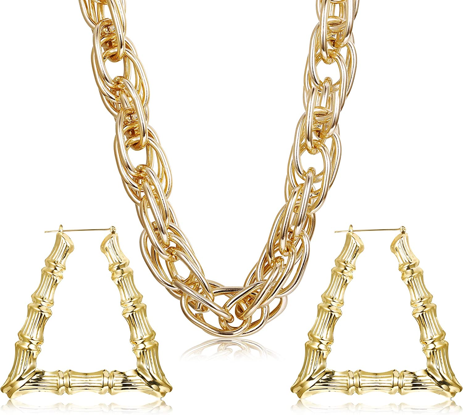 HANPABUM Gold Plated Chunky Rope Chain Necklace and Large Hollow Casting Triangle Bamboo Hoop Earrings Set for Men Women Costume Jewelry Punk Hip Hop Rapper Style