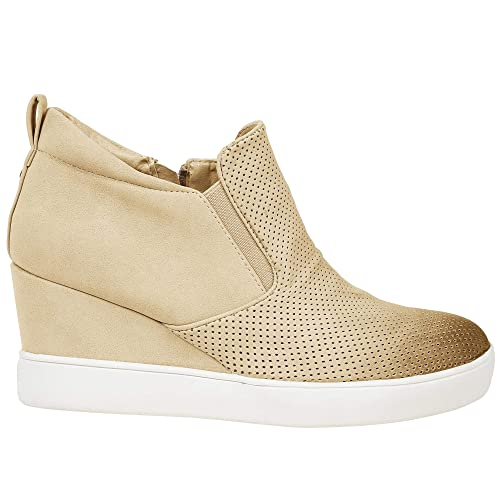 61ecf6d6236 Womens Wedgie Sneakers Platform High Top Wedge Booties Slip on Heeled  Hollow Out Ankle Boots