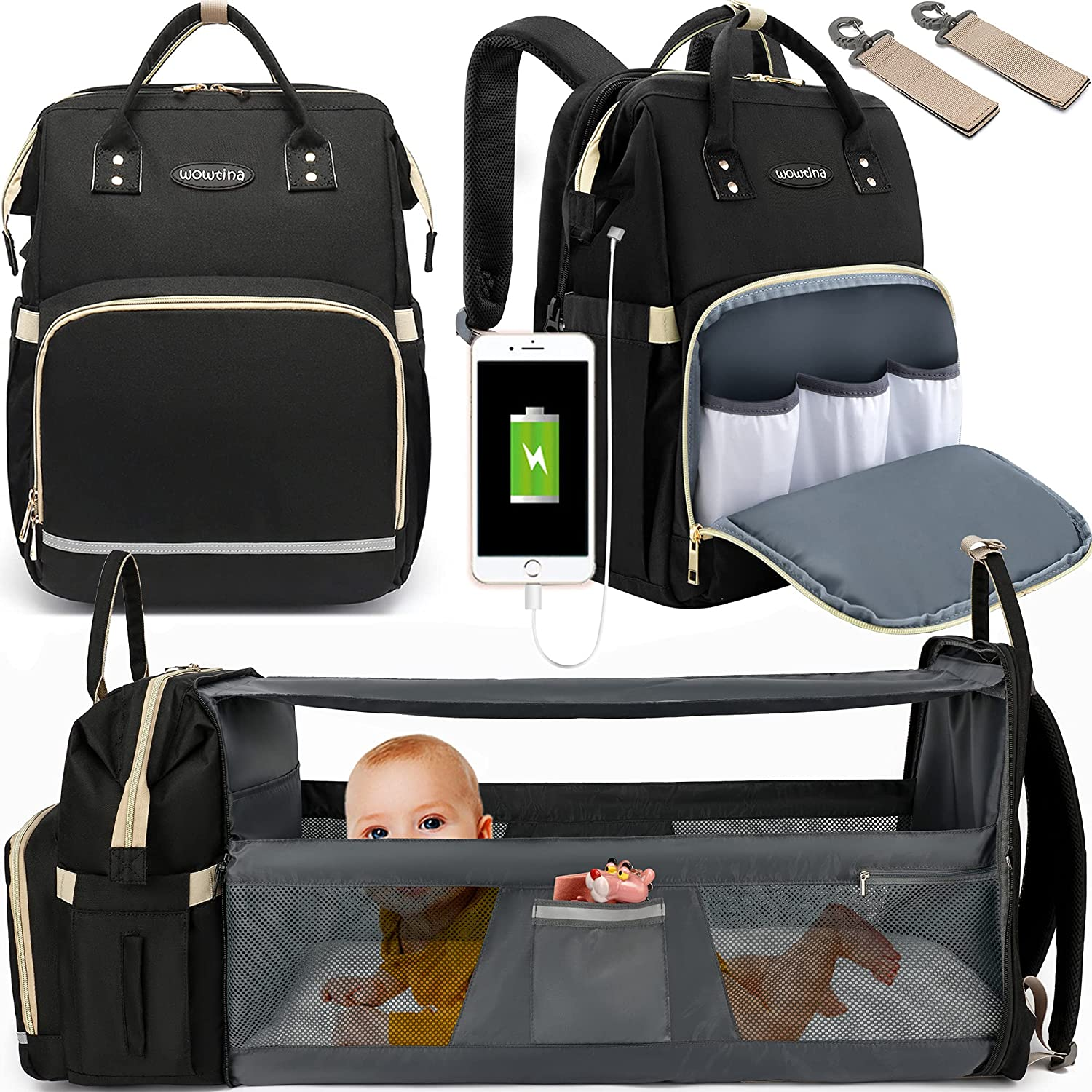 Baby Diaper Bag Backpack, WOWTINA Diaper Bag with Changing Station, Diaper Bags for Baby Boy Girl, Baby Registry Search Shower Gifts New Mom Gifts for Women Large 3 in 1 Diper Bag with Bassinet Black