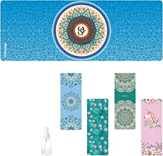 Travel Yoga Mat, Sweat Absorbent Anti Slip Foldable Yoga Mat, Luxury Premium Design Eco Friendly Yoga Mat for Travel, Yoga...