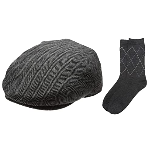 Men s Collection Wool Blend Herringbone Tweed Newsboy Ivy Hat with Dress  Socks. 1aa6b754975