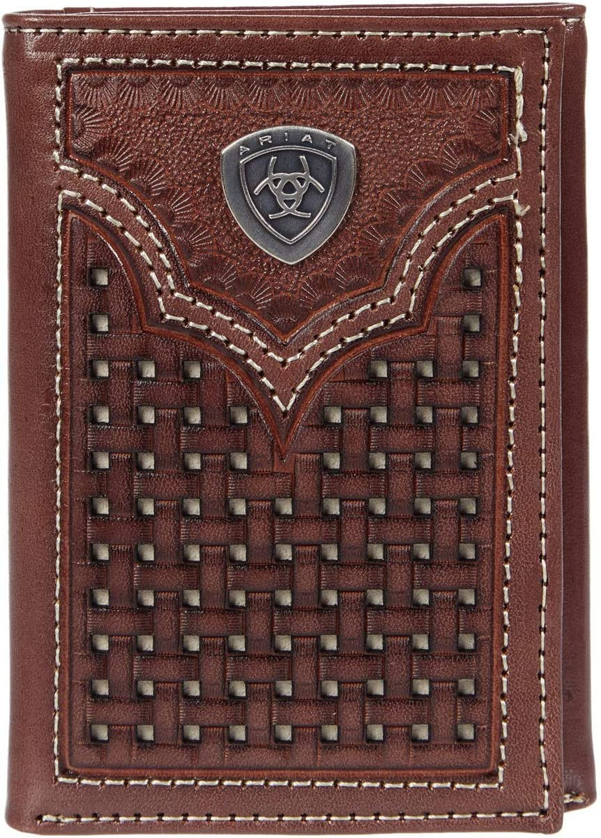 Ariat Two-Tone Basket Weave Outlet sale feature Trifold Ivory Japan Maker New One Brown Size Wallet