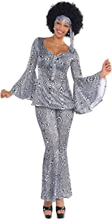 Suit Yourself Dancing Queen Disco Costume for Adults, Size Extra-Large, Includes a Matching Top, Pants, and a Headscarf