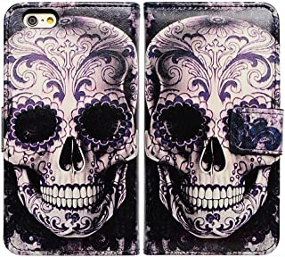 Bfun Packing Cool Flowers Floral Skull Card Slot Wallet Leather Cover Case for 4.7 Apple iPhone 6 6s