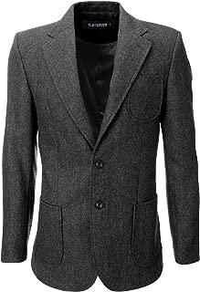 Mens Herringbone Wool Blazer Jacket with Elbow Patches