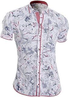 D&R Fashion Men's Summer Short Sleeve Shirt Classic Collar 100% Cotton Chequered Trim Slim