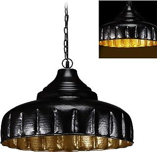 Relaxdays Lámpara colgante de techo, Grande, Comedor & Salón, Vintage, E27, 40W, 151x56 cm, 1 Ud., Negro/Dorado