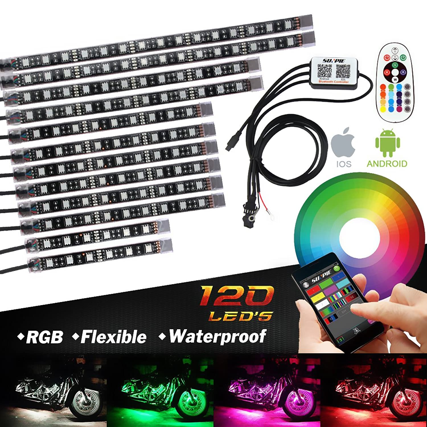 Bluetooth Golf Cart Underbody Glow LED Lighting Kit Multi-Color Accent Glow Neon Lights Car Motorcycle LED Light Kit