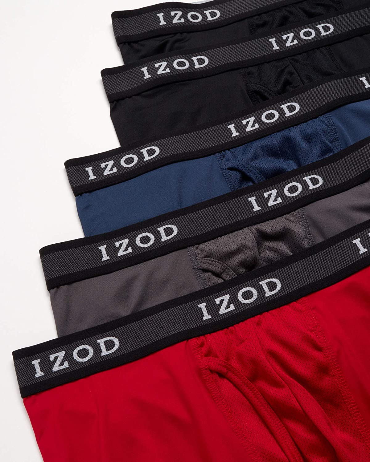IZOD Men's Underwear - Performance Boxer Briefs with Mesh Functional Fly (10 Pack)