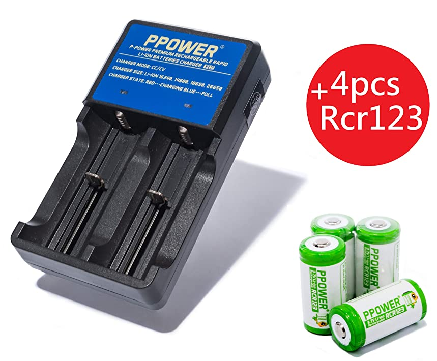 Ppower Pbe 4 Packs of 700mAh 3.7v Cr123a Li-ion Rechargeable Battery + 2 Slots 3.7V Li-ion Charger (PI2) + Battery Boxes, CE Certified for Arlo Camera, Reolink Argus, Keen, etc