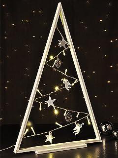 Iluminado Navidad Árbol Madera silueta con 20LED de color blanco cálido B33X T2X h50cm funciona con pilas