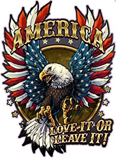 American Bald Eagle American Flag Love it or Leave it. Large Decal is 12