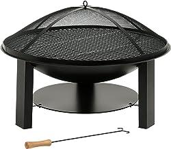 BBQ-Toro Massive Feuerschale aus Gusseisen, Gartenfeuerstelle, Durchmesser 75cm, mit Grillrost, Funkenhaube und Schürhaken