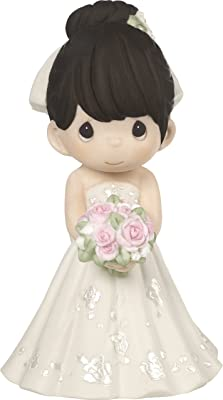 Precious Moments Perfect Couple Bride, Black Hair With Light Skin Tone Bisque Porcelain Wedding Figurine & Cake Topper, 172063