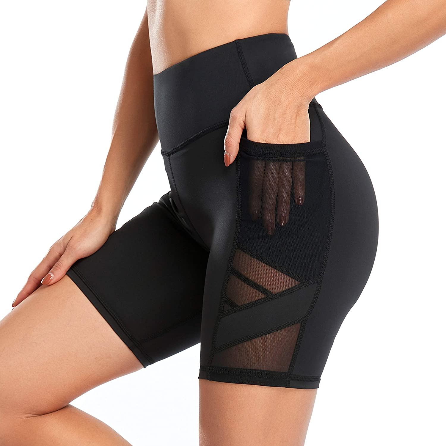 WE CUFFLLE Women's Mesh High Waist Pants Yoga Challenge the lowest price of Japan Popular brand Leggings with Pock