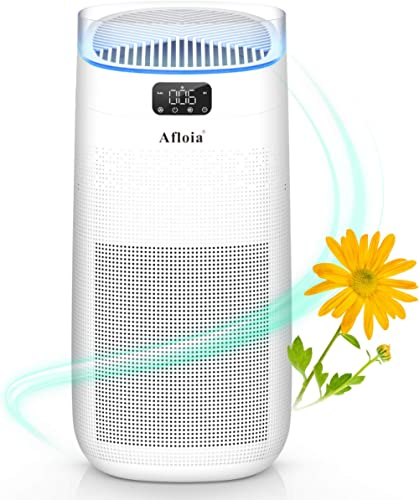 Afloia Smart Air Purifier for Home large Home about 500ft², 3-Stage Filtration remove Odor/Smoke, 25dB Air Cleaner wi...