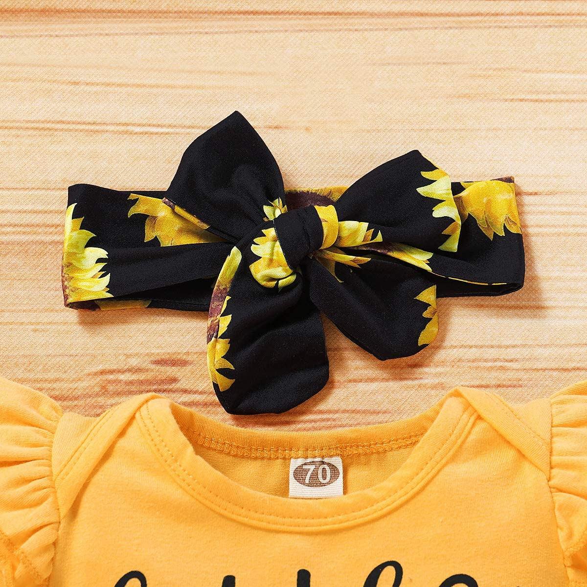 Headband Little Miss Sassy Pants 0-24M Geagodelia Baby Girl Clothing Outfit Set Newborn Toddler Sunflower Clothes Bodysuit Top Pants Shorts