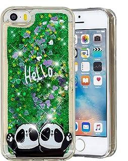 61996202c74 HopMore Compatible para Funda iPhone 5S / SE / 5 Silicona 3D Glitter  Liquido Brillante Purpurina