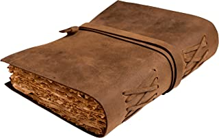 $26 » Vintage Leather Journal - Antique Leather Bound Journals Writing Notebook Sketchbook Fountain Pen - Calligraphy Pen - Book of Shadows Journal - Deckle Edges 8 x 6 Inches