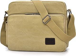 POPOTI Herren Umhängetasche, Popoti Schultertasche Segeltuch Klein Tasche Handtasche Aktentasche Tote Multifunktional Rucksack Messenger Bag Khaki, 30x11x25cm