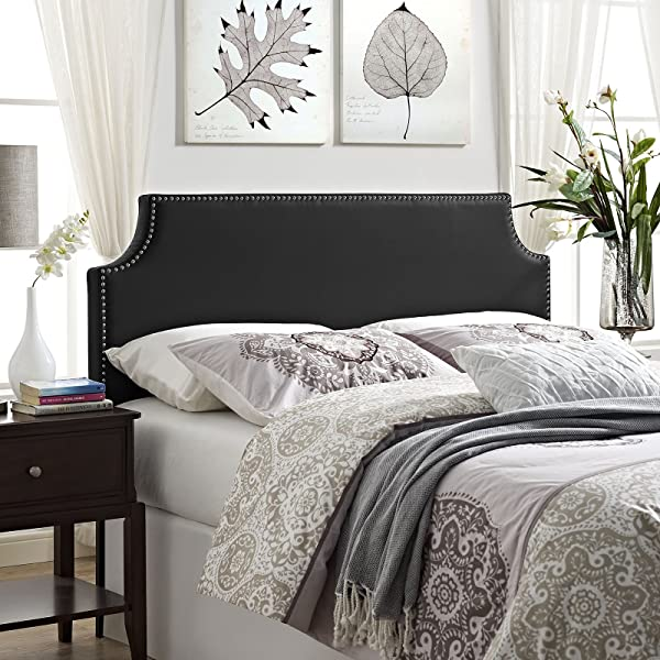 Modway Laura Faux Leather Upholstered Queen Size Headboard With Cut Out Edges And Nailhead Trim In Black