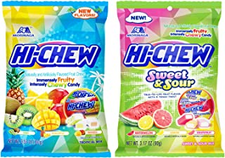 Hi Chew Chewy Candy Sweet and Sour Flavor and Tropical Mix Flavor (Pack of 2)