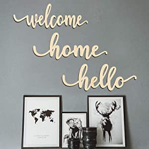 Zhuper Wood Welcome Home Hello Sign for Wreath Decor Wood Script Home Gallery Wall Sign Wall Art Unfinished Rustic Word Front Door Porch Entryway Decoration DIY Craft -12