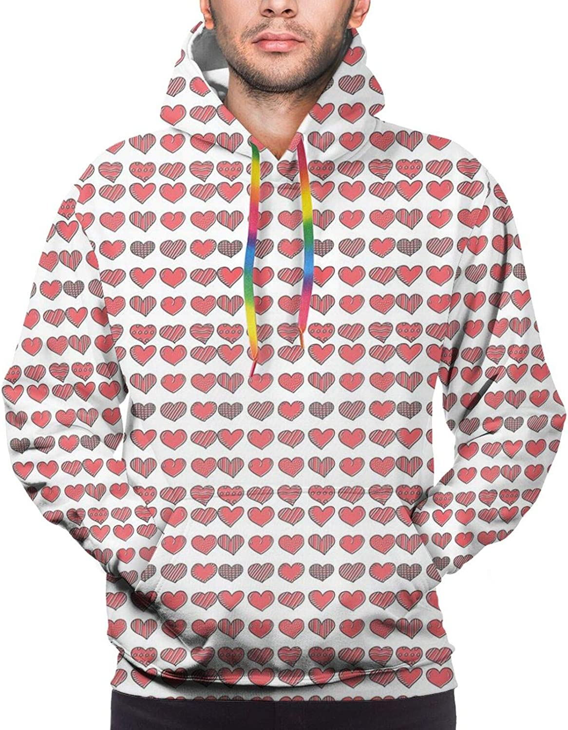 Men's Hoodies Sweatshirts,Happy Valentine Day Quote Love Romance Theme Abstract Image with Heart