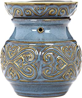 Hosley 6 High Blue Ceramic Electric Warmer. Ideal Gift for Wedding Spa Aromatherapy. Use Brand Wax Melts Cubes Essential Oils and Fragrance Oils. O4
